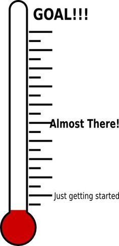 A blank thermometer template for fundraising or reaching