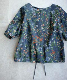 45R Lady's(レディース)のネップチデニム花更紗プリントブラウス(シャツ・ブラウス)|インディゴブルー