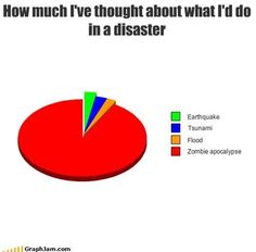 I have my zombie plan all thought out. Funny Relatable Memes, Funny Jokes, Hilarious, Relatable Posts, Memes Humor, Epic Fail Photos, Zombie Apocalypse Survival, Charts And Graphs, Pie Charts