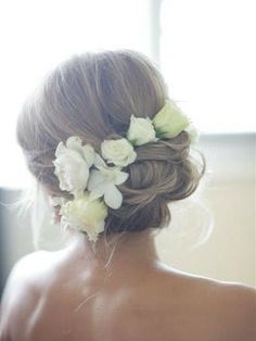 Updo with fresh flowers