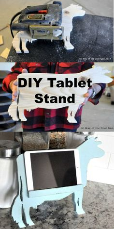 DIY Cut Out Wooden Cow tablet stand for the kitchen