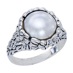 Intricate Womens Nat White Mabe Pearl 925 Sterling Silver Floral Embossed Ring -- For more information, visit image link.Note:It is affiliate link to Amazon.