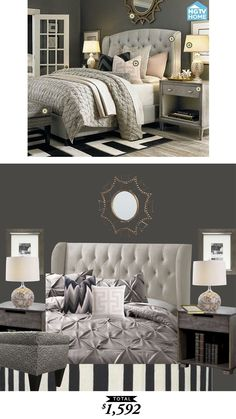 A glamorous gray master bedroom from Bassett furniture recreated from $1592 by @audreycdyer  for Copy Cat Chic