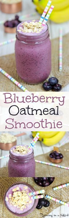 Healthy Blueberry Oatmeal Smoothie recipe.  A simple and easy way to start your mornings.  The oats help you stay full!  Packed with protein from chia seeds and greek yogurt. Also uses almond milk and bananas.  Can sub vegan yogurt to make a dairy free breakfast. Creamy and delicious!   #ILikeALDI @aldiusa AD / Running in a Skirt