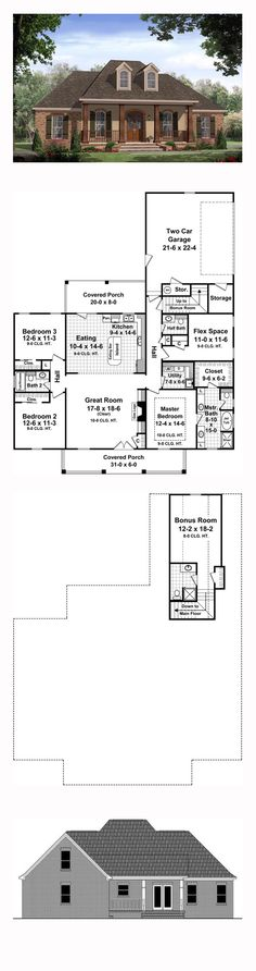 Country House Plan 59972 | Total Living Area: 1888 sq. ft., 3 bedrooms and 2 bathrooms. The kitchen features an island and is open to the great room; while the half bath is located in the hallway for privacy. #countryhome