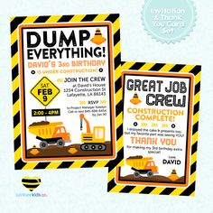 Free construction birthday party printables. Construction party invitation, drink labels, and food tent cards.