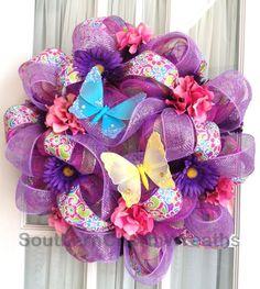 Deco Mesh Spring Wreath Lavender Pink Lime Stripe #decomesh #wreaths