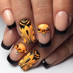 Beautiful bright nails, Black and yellow nails, Black french manicure, Christmas gel polish, Contrast nails, Festive nails, French nails with stones, Halloween nails