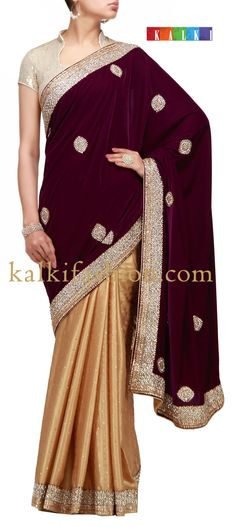 Buy it now  http://www.kalkifashion.com/purple-and-gold-foil-half-half-saree-with-sequence-and-stone-work.html Purple and gold foil half half saree with sequence and stone work