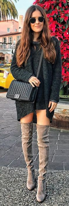 #winter #fashion /  Dark Knit Dress + Velvet OTK Boots