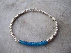 Neon blue apatite bracelet,birthstones bracelet,simple bracelet,women bracelet,beadwork bracelet,gemstone bracelet,bridesmaid bracelet