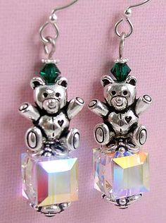 Teddy Bear Noel Earrings featuring TierraCast  Teddy Bear beads and 9mm Clover bead cap. Design by Tracy Gonzales for TierraCast.