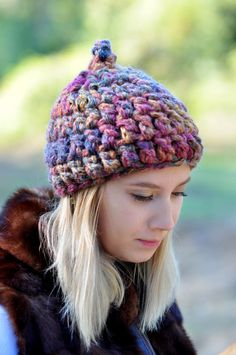 Кабель Трикотаж Mix Violet Шерсть Beanie Шляпы для женщин, Зимние шапки, женские шляпы, Knit Hat, Зимние шапки для женщин, Шапочки для женщин, вязаная шапка