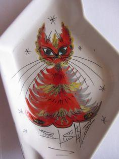 Mid Century Italian Hand Painted Cat Ashtray by by Oldylocks, $25.00