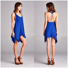 Royal Blue Open Back Stappy Dress Loose fit, sleeveless, scoop round neck  Shark bite hem Open back with strapping detail  Heavyweight knit jersey that is super soft, drapes and stretches very beautifully. Can be worn as a tunic or dress!   Available is S,M, L B Chic Dresses