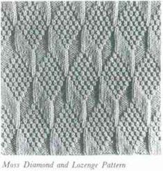 Moss Diamond And Lozenge Pattern. Reminds me of the Tumbling Blocks quilting pattern. Knitting Stiches, Cable Knitting, Knitting Blogs, Hand Knitting, Knit Stitches, Knitted Washcloth Patterns, Knitted Washcloths, Quilt Block Patterns, Stitch Patterns