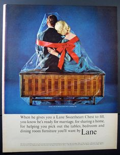 Lane Sweetheart Chest perfect couple in blue by VintageAllianceAds