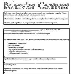 37 Best Behavior Contract Images Classroom Classroom Behavior