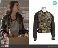 Kira's camo bomber jacket on Teen Wolf.  Outfit Details: http://wornontv.net/50883/ #TeenWolf