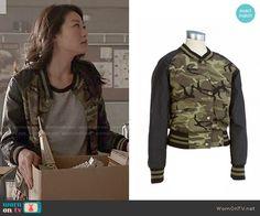 Kira's camo bomber jacket on Teen Wolf.  Outfit Details: http://wornontv.net/50883/ #TeenWolf