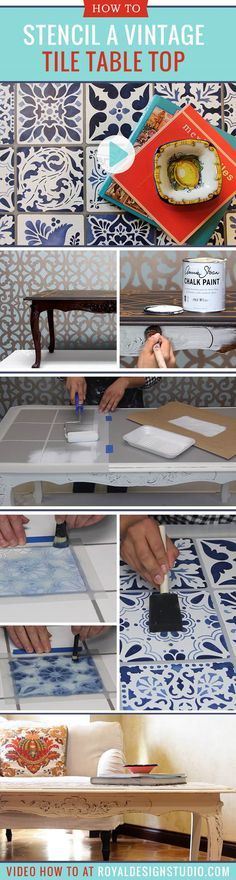 How to Stencil DIY **VIDEO** Tutorial: Indigo Blue Vintage Tile Table Top with Chalk Paint by Annie Sloan and Craqueleur and Faux Tile Furniture Stencils from Royal Design Studio