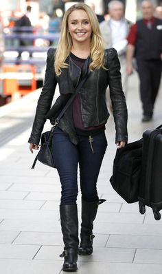 Hayden Panettiere steps out in a rocker-ready outfit— the actress dons a leather jacket, dark denim and biker boots at the Manchester Piccadilly Train Station.