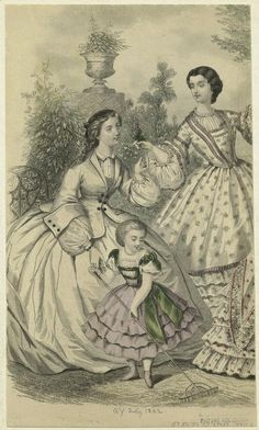 Fashion plate Civil War style. Day dresses for women and girl. 1862