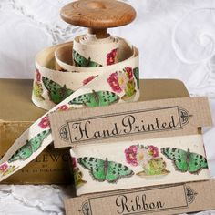 Teacups & Butterfly Hand Printed Cotton Fabric Ribbon