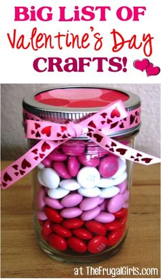BIG List of Valentine's Day Crafts! ~ from ~ you'll love all these fun projects to make with the kids, share with your sweetie, and spread some love this Valentine's… Valentines Day Treats, Valentine Day Love, Valentine Day Crafts, Funny Valentine, Holiday Treats, Holiday Fun, Kids Valentines, Valentine Stuff, Homemade Valentines
