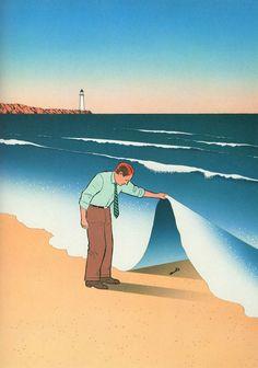 Guy Billout è l'illustratore dell'ironia. Con linee pulite e colori tenui…
