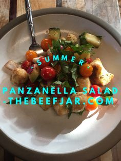 Summer Panzanella Salad Super easy and delicious! One of my favorite things to take to pot-lucks!
