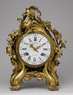 Mantel clock, ca. 1750  The case signed: ST Germain for Jean-Joseph de Saint-Germain (French, 1719–1791); the movement signed: Gosselin à Paris, possibly Jean-Philippe (French, d. 1766) or Jean-Baptiste Gosselin (French, active Paris until 1753)  Paris  Bronze, originally gilded or silvered, enameled dial