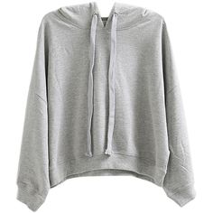 Gray Long Sleeve Drawstring Short Hoodie ($22) ❤ liked on Polyvore featuring tops, hoodies, long sleeve tops, gray hoodies, drawstring hoodie, grey hooded sweatshirt and cotton hoodies