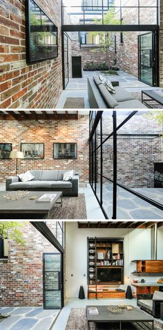 This industrial modern home in a converted commercial garage features a material palette of black steel, recycled brick, concrete and timber, while there's an abundance of natural light from the interior courtyard that fills the living, dining and kitchen area.