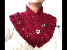 Cuello bufanda hojas echadas a 2 agujas tutorial - YouTube Capelet Knitting Pattern, Knitting Patterns, Crochet Patterns, Knitting Videos, Neck Warmer, Needles Sizes, Cowl, Stitch, Pullover