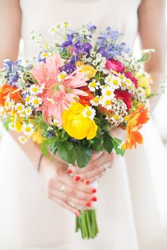 COOL IDEA! Jenna collected flowers and she and her bridal party put them together the day before.
