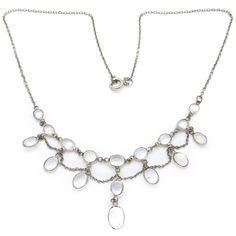 Antique Edwardian Swag Moonstone Bezel Set Necklace | Clarice Jewellery | Vintage Costume Jewellery
