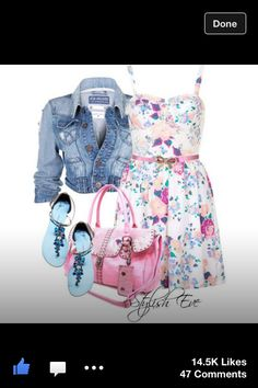 Pink and whit flowery dress with jean jacket