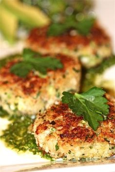 Crab Cakes with Lemon Cilantro Sauce. Makes a ton of sauce! May use an egg win the crab cakes next time but they tasted so good. No leftovers :) Fish Recipes, Seafood Recipes, Great Recipes, Dinner Recipes, Cooking Recipes, Favorite Recipes, Healthy Recipes, Delicious Recipes, Recipies