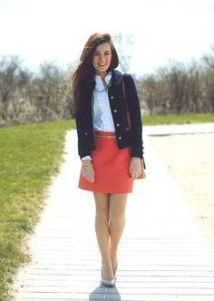 Ruffle oxford by Ralph Lauren, necklace by Pink Pineapple, skirt by J.Crew, shoes by Calvin Klein. (April 10, 2012)