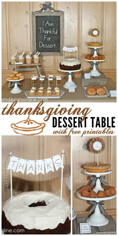 Thanksgiving Dessert Table with free printables