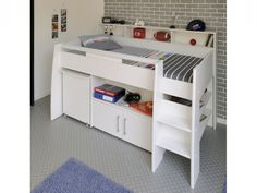 This Contemporary Looking E Saving Bed Combines A Fabulous Midsleeper Design With Stacks Of Storage Plus Pull Out Desk