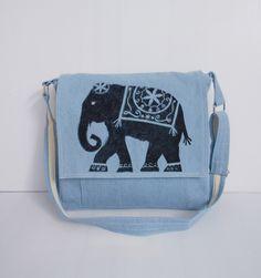 Light Blue Messenger Bags/Elephant Bag/School Bags/Travel Bags/Bags & Purses/Shoulder Bag/Book Bags by unicraftbag on Etsy