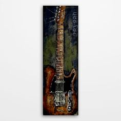 Original acrylic navy green brown textured guitar painting, music art on canvas…