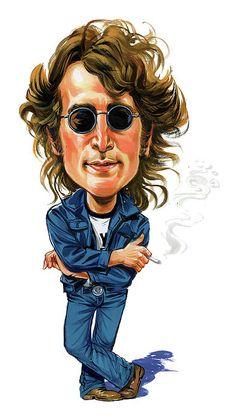 The Beatles John Lennon Imagine Cartoon Bumper Sticker or Fridge Magnet Les Beatles, Beatles Art, John Lennon Beatles, Jhon Lennon, Funny Caricatures, Celebrity Caricatures, Cartoon Faces, Funny Faces, Pin Ups Vintage