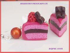 Boucles d'oreille gourmande part de gâteaux framboise Fimo Rose