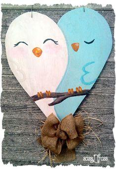 Sassy Spring Summer Heart with Birds Wood by SassyFrassOriginals