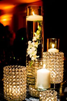 Rhinestone collection with acrylic cubes and floating candles.  -StemLine Creative