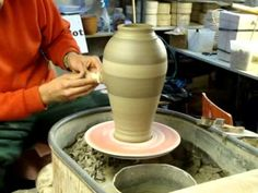 Trimming / Turning &  Slip Decorating the Tall Pottery Jar