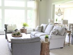 Benjamin moore revere pewter color living room with grey couch ...